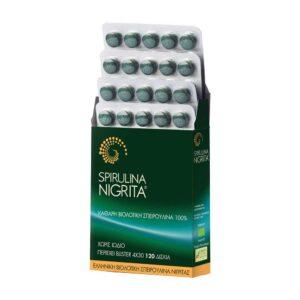 Ελληνική-βιολογική-σπιρουλίνα-Νιγρίτας-120-δισκία-Spirulina-Nigrita-Orange-Bio