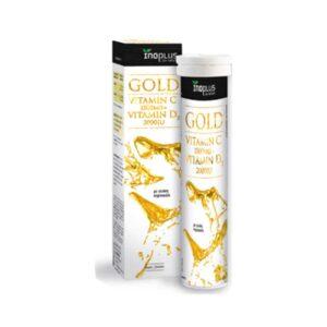 Gold-Vitamin-C-1500mg-D3-2000-IU-20-αναβράζοντα-δισκία-Inoplus-Orange-Bio