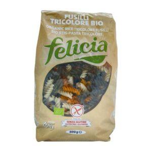 Βίδες τρίχρωμες ρυζιού χωρίς γλουτένη, 500gr, Βιοαγρός, orange bio
