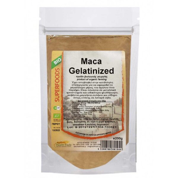maca ζελατοποιημένη, health trade, 200 gr, orange bio