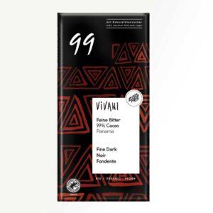 Βιολογική μαύρη σοκολάτα 99% κακάο με ζάχαρη καρύδας, vivani, 80gr, orange bio