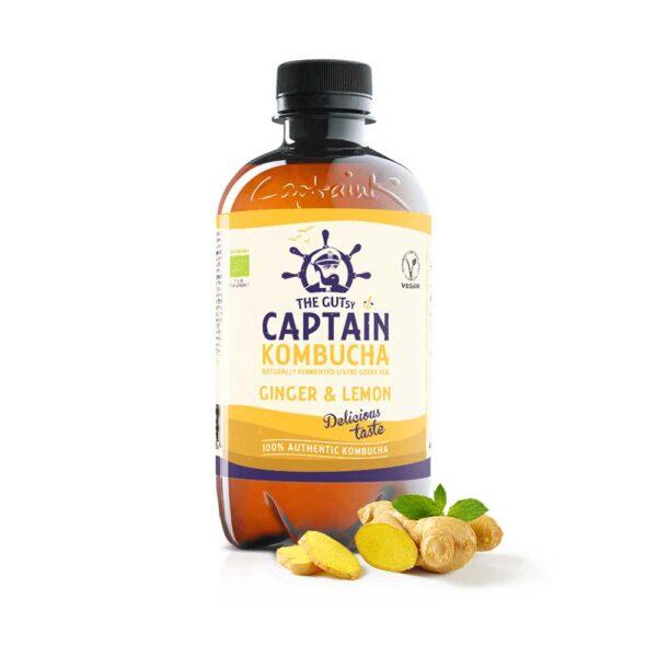 Βιολογικό ρόφημα τσαγιού ginger Λεμόνι, captain kombucha, 400ml, orange bio