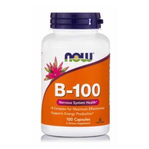 Βιταμίνη b 100 σε κάψουλες, now foods, 100 κάψουλες, 733739004369, orange bio