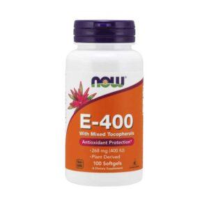 Βιταμίνη e 400 268mg σε μαλακές κάψουλες, now foods, 100 μαλακές κάψουλες, orange bio