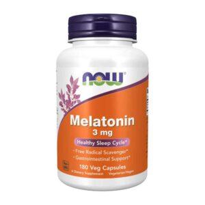Μελατονίνη 3mg σε κάψουλες, now foods, 180 φυτικές κάψουλες, orange bio