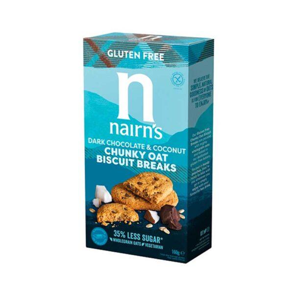 Μπισκότα βρώμης χωρίς γλουτένη με μαύρη σοκολάτα & καρύδα, nairn's, 160gr, orange bio 1