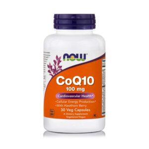 coq10 100mg σε κάψουλες, now foods, 30 φυτικές κάψουλες, orange bio